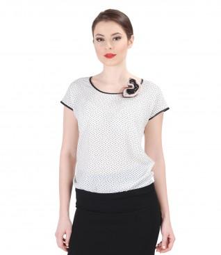 Bluza din jerse elastic cu fata imprimata si floare