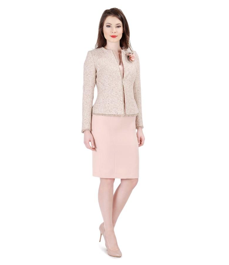 Tinuta office cu sacou din bucle roz cu bumbac cu rochie