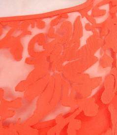 Rochie din organza brocata cu motive de vascoza si in cu cordon