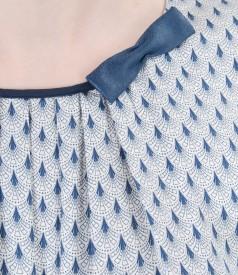 Bluza din vascoza imprimata cu falduri