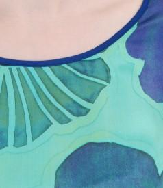 Bluza din jerse elastic cu fata de matase imprimata