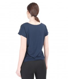 Bluza din jerse elastic cu fata din saten imprimat
