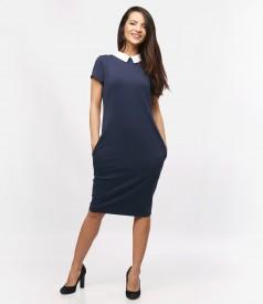 Rochie din tricot elastic cu guler si buzunare