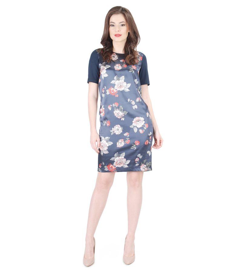 Rochie din jerse elastic cu fata din saten imprimat