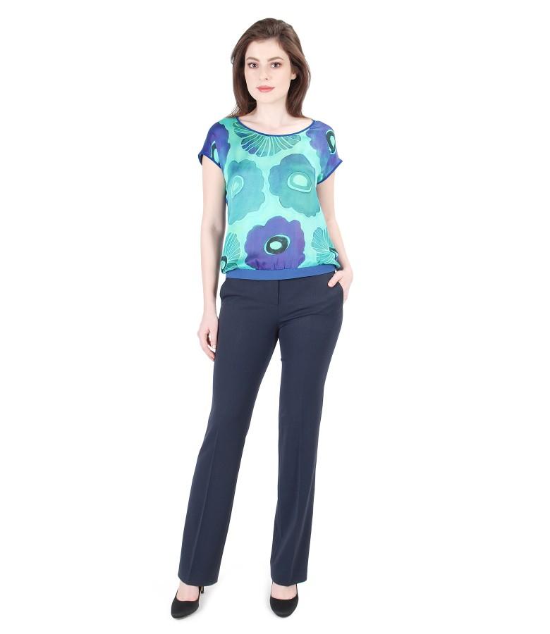 Bluza cu fata din matase imprimata cu pantaloni