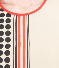 Rochie din voal imprimat cu maneci