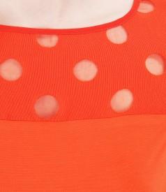 Bluza din jerse elastic cu garnitura brocata