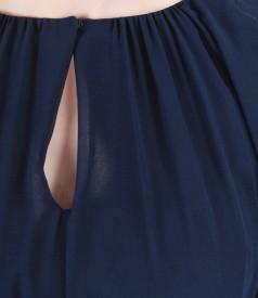 Rochie din voal cu falduri si cordon