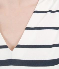 Bluza din jerse imprimat cu decolteu in V