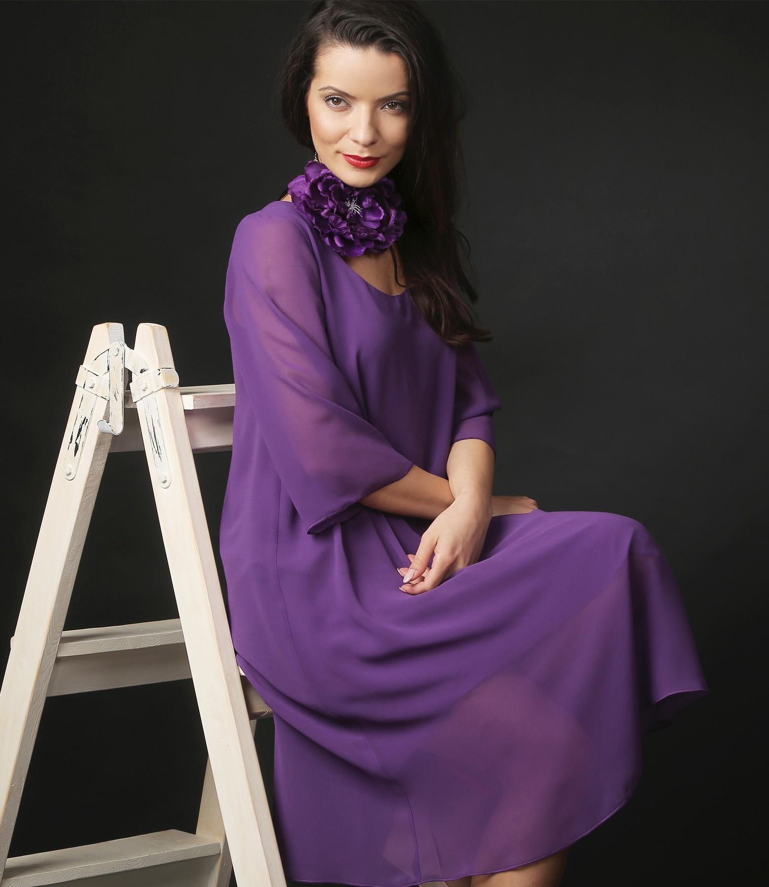 Rochie Eleganta Din Voal Mov Yokko