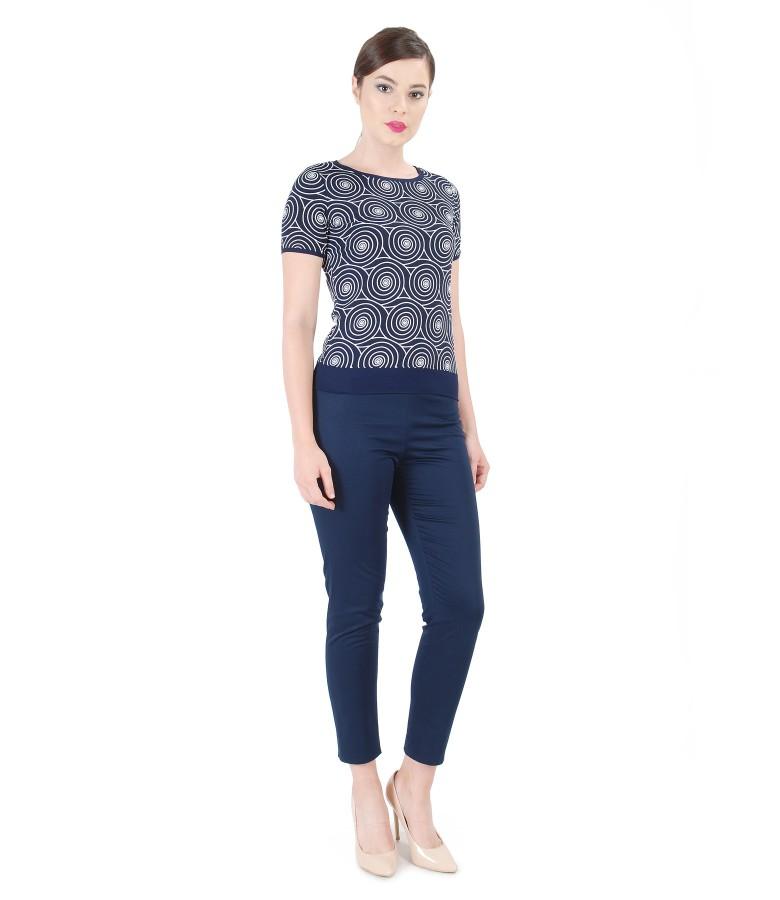 Bluza din jerse imprimat in relief cu pantaloni pana