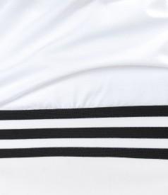 Bluza din jerse uni cu garnitura