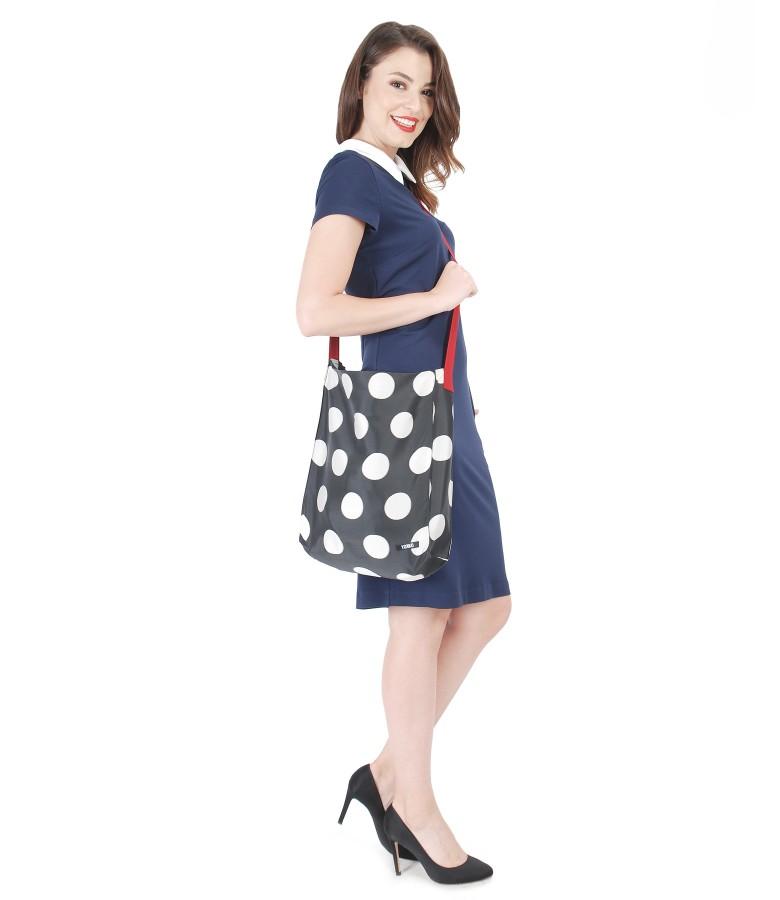 Rochie cu geanta imprimata cu buline