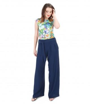 Tricou din jerse imprimat cu pantaloni largi din vascoza