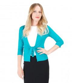 Bluza din jerse turquoise legata cu cordon