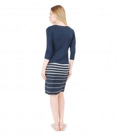 Rochie din jerse imprimat cu dungi si bluza cu cordon in talie