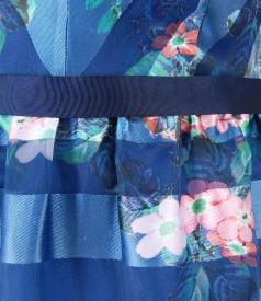 Rochie de seara din organza cu cordon in talie