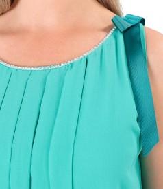 Rochie din voal cu aplicatie de cristale