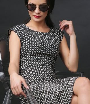 Rochie eleganta din brocart de bumbac elastic cu fir metalic