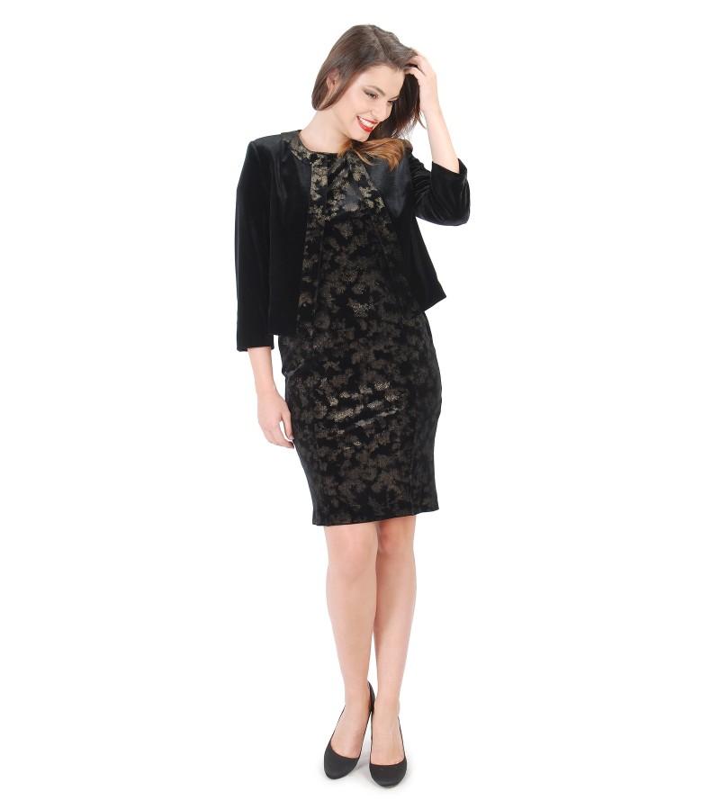 Costum de ocazie cu rochie din catifea elastica