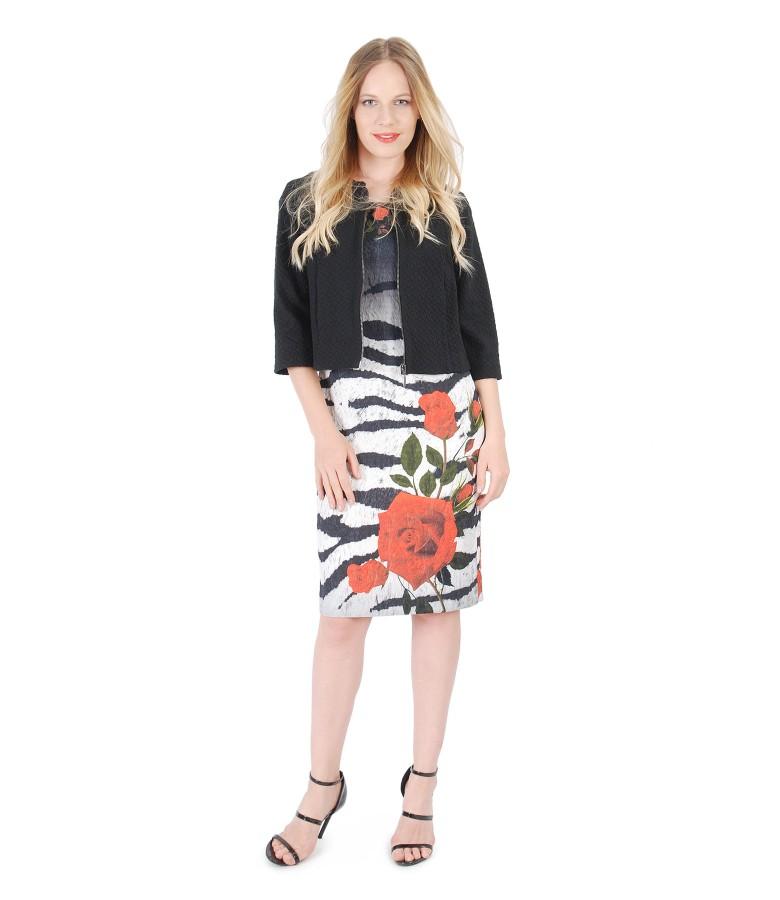 Rochie cu motive florale si jacheta din brocart elastic