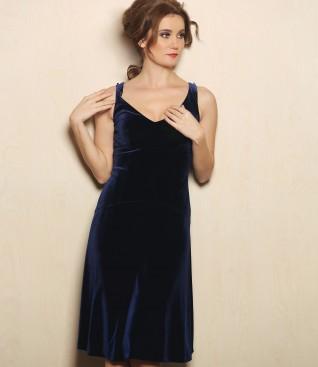 Rochie eleganta din catifea elastica cu garnitura de cristale Swarovski