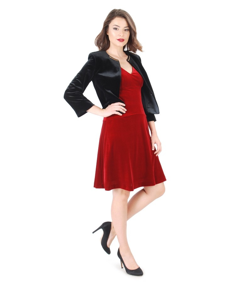 Tinuta de ocazie cu rochie din catifea elastica cu aplicatie de cristale Swarovski