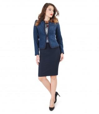 Costum office dama cu sacou din bucle elastic si fusta creion