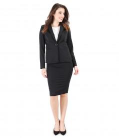 Costum office dama cu sacou si fusta din stofa elastica