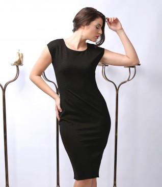 Rochie din jerse elastic gros cu picouri