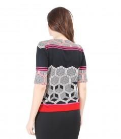 Bluza din jerse elastic cu imprimeu geometric