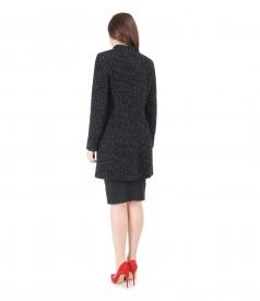 Jacheta din lana cu aplaca si fusta office elastica