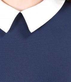 Rochie din tricot elastic cu guler alb