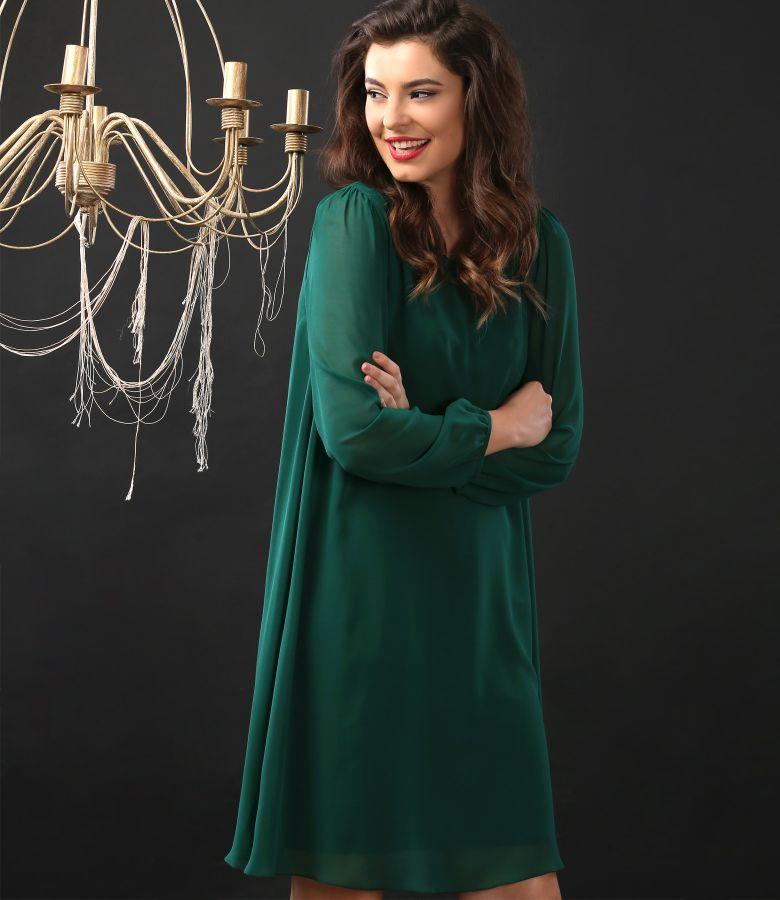 Rochie de seara scurta din voal captusita cu jerse elastic gros