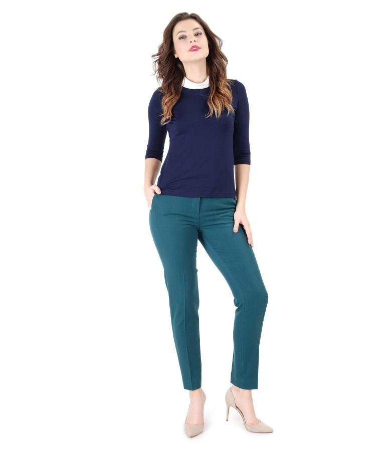 Tinuta eleganta cu pantaloni pana si bluza din jerse elastic