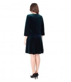 Tinuta de ocazie cu rochie si bolero din catifea elastica