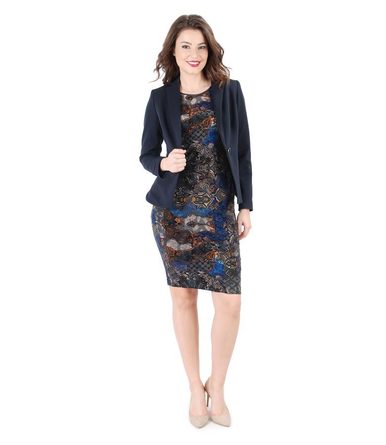 Rochie eleganta din jerse elastic brocat si sacou cu fermoare laterale