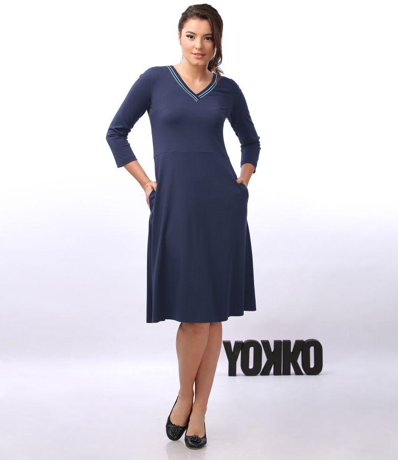 Rochie din tricot elastic cu decolteu in V si maneci 3/4