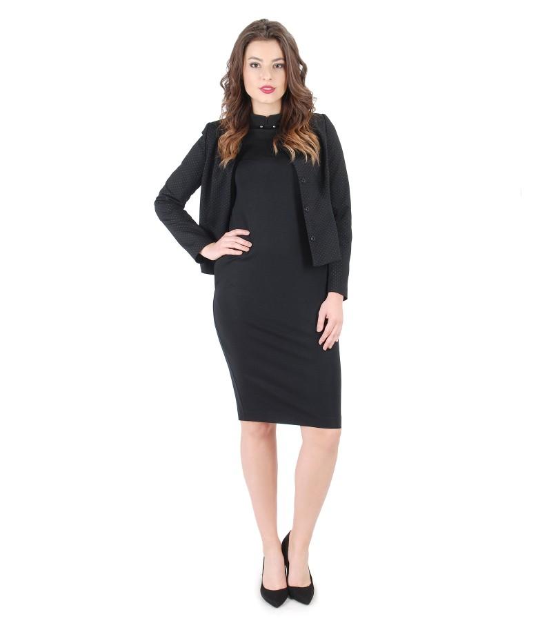 Rochie eleganta cu sacou din jerse cu picouri
