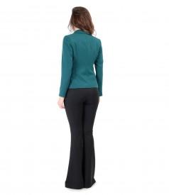 Tinuta eleganta cu sacou cu fermoare laterale si pantaloni evazati