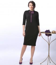 Rochie eleganta din jerse elastic cu brosa din organza si cristale Swarovski