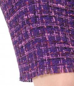 Fusta din bucle multicolor cu bumbac si lana virgina