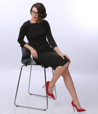 Rochie eleganta din stofa elastica si maneci 3/4