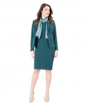 Rochie din stofa elastica cu sacou cu fermoare laterale