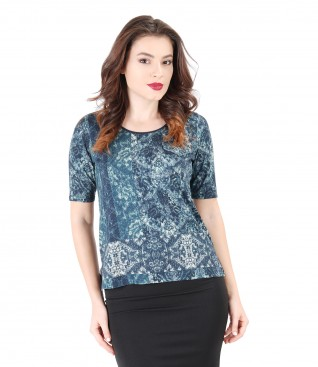 Bluza din jerse elastic cu imprimeu floral