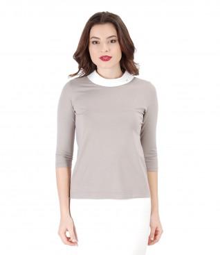 Bluza din jerse elastic cu maneci 3/4 si aplicatie de cristale Swarovski