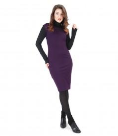 Rochie din jerse elastic gros cu bluza neagra