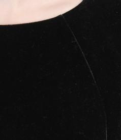 Rochie din catifea elastica cu insertie
