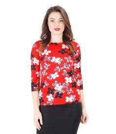 Tricou din jerse elastic imprimat cu flori