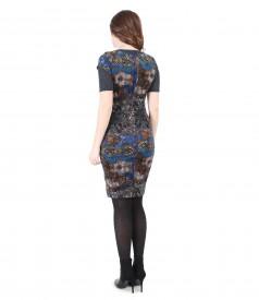 Rochie brocata cu catifea si tricou din jerse elastic cu lana